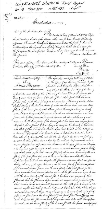 Deed of Sale on land owned by Levi and Elizabeth Masten -1836 				Coshocton County Ohio