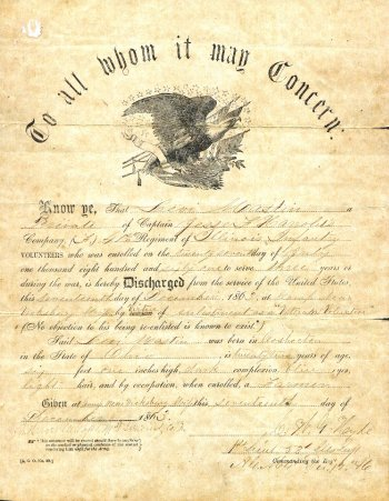 Levi Mastin's Civil War Discharge 1863