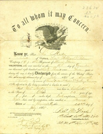 The Civil War Military Discharge of Levi Mastin 1865