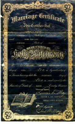 Clifford Dean Mastin and Norma Jean Jobe marriage 	 certificate